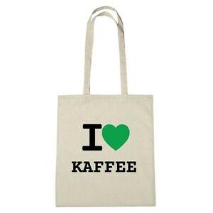 Umwelttasche - I love KAFFEE - Jutebeutel Ökotasche - Farbe: natur