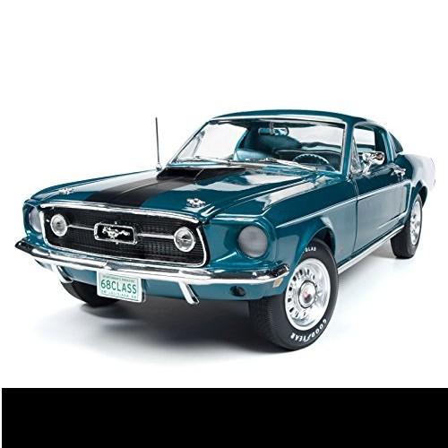 1968 Ford Mustang GT 2+2 Aqua bleu échelle 1 18 Diecast autoworld AMM1132
