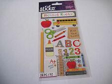 Scrapbooking Stickers Crafts Sticko School Rocks Bus Glue Scissors Ruler Lunch