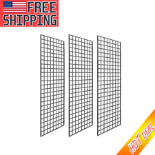 72 In H X 24 In W Grid Wall Panels For Retail Display 3 Grids Sturdy Metal