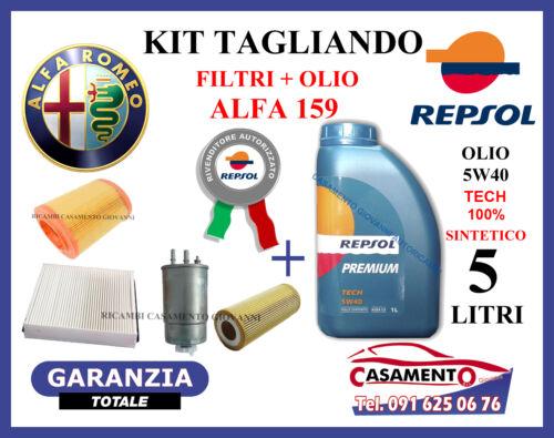 OLIO REPSOL 5W40 ALFA 159 2.4 JTD 200CV 210CV 2005 IN POI KIT TAGLIANDO FILTRI