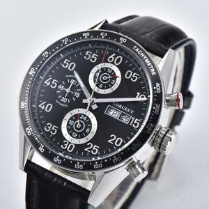 44mm-CORGEUT-black-dial-leather-Date-Day-Automatic-movement-men-039-s-Wristwatches