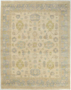 8X10 Hand-Knotted Oushak Carpet Traditional Grey Fine Wool Area Rug D54551