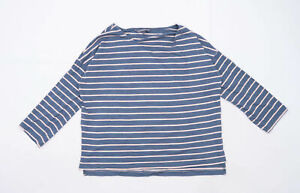 French-Connection-Womens-Size-L-Striped-Cotton-Blend-Blue-Top-Regular