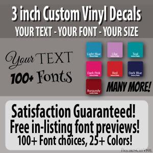 3 In Custom Vinyl Lettering Text Vinyl Wall Decal Window Sticker