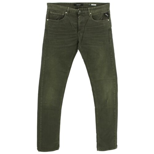 21916 REPLAY Jeans Uomo Pantaloni Grover ma972 Straight Slim Stretch Cachi Verde Grigio