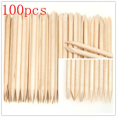 100Pcs Nail Art Cuticle Pusher Remover Pedicure Manicure Orange Wood Stick Tool