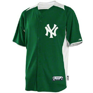 new product 76718 3166f Details about Majestic New York Yankees Authentic Batting Practice Kelly  Green BP Jersey
