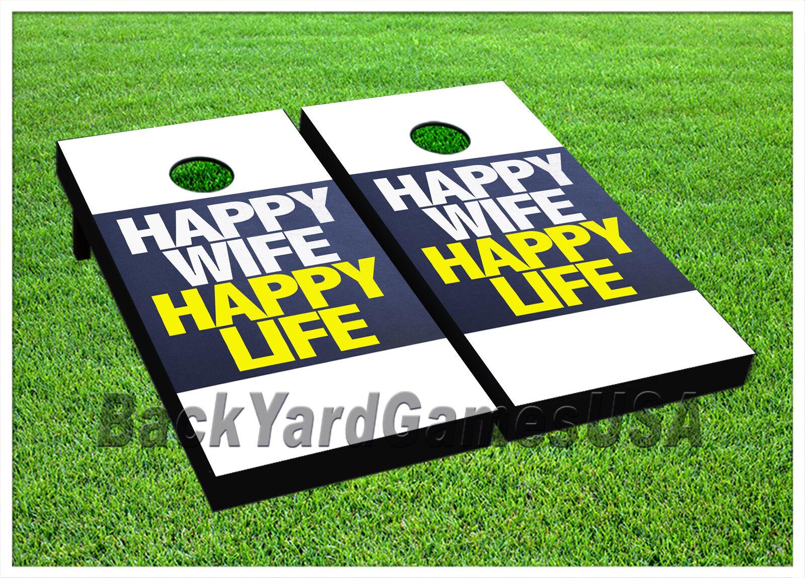 Cornhole Boards BEANTasche TOSS GAME Happy Wife Happy Life Blau Gelb Tasches Set