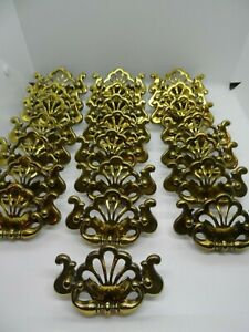 """22- CONT B 1992 Drop Bail Drawer Pull Handle B1254 Shiny Brass: 3"""" Centers"""