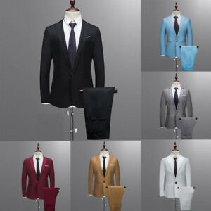 Business-Men-039-s-2-piece-Costume-plus-fete-de-mariage-costume-Slim-Blazer-Veste-Manteau-amp