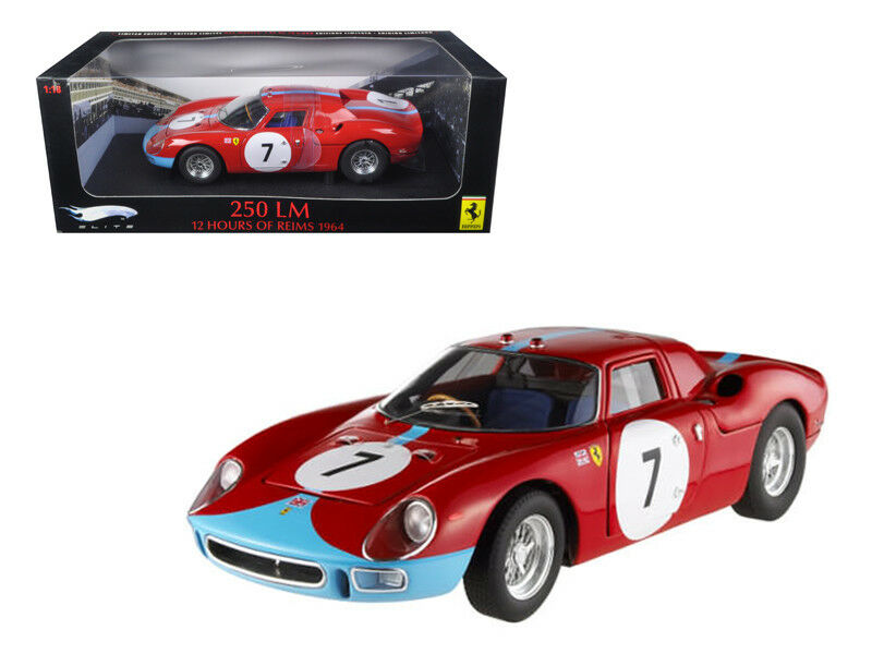 1 18 Hot Wheels Ferrari 250 LM  7 Elite Edition Diecast Model Car rosso T6261