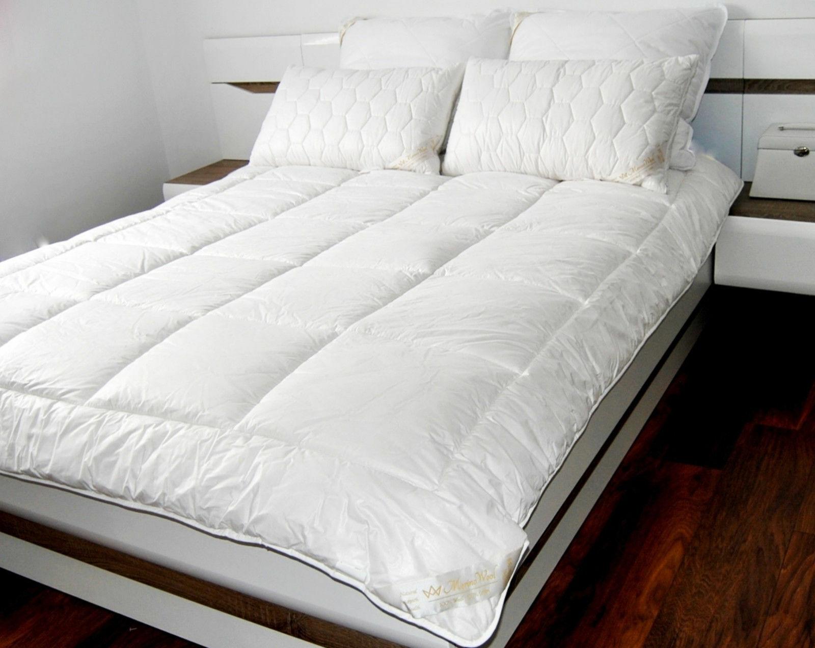 Ensemble Laine Mérinos Couette 140 200cm 8tog 500gsm+ Single Bed Surmatelas 90 200cm