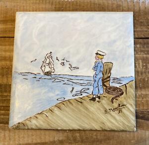 Vintage 1957 Wheeling Ceramic Hand Painted Tile Trivet B. Newton Ship Nautical