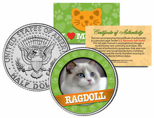 RAGDOLL-Cat-JFK-Kennedy-Half-Dollar-US-Colorized-Coin