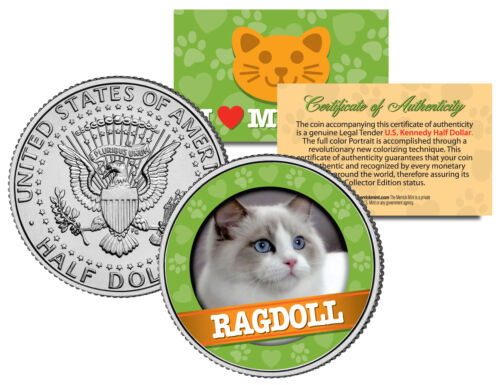 RAGDOLL Cat JFK Kennedy Half Dollar US Colorized Coin