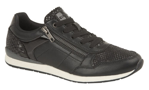 LADIES Side Zip Casual Sparkly Metallic TRAINERS Black Silver Size 3 4 5 6 7 8 9