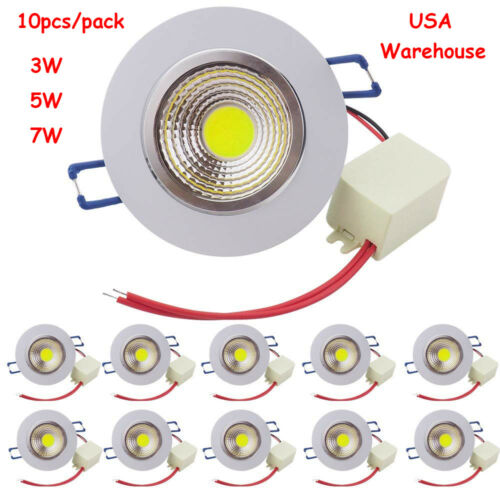 10x 3W//5W//7W COB Dimmable Downlight LED Ceiling Spotlight Recessed Lamp 110V LED