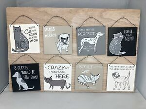 Square wooden hanging plaque grey french bulldog gift cute