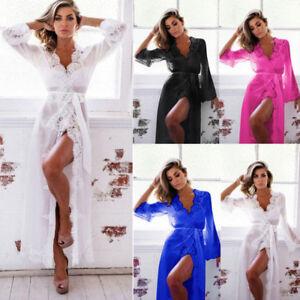 Women-Sexy-Long-Silk-Kimono-Dressing-Gown-Bath-Robe-Babydoll-Lingerie-Nightdress