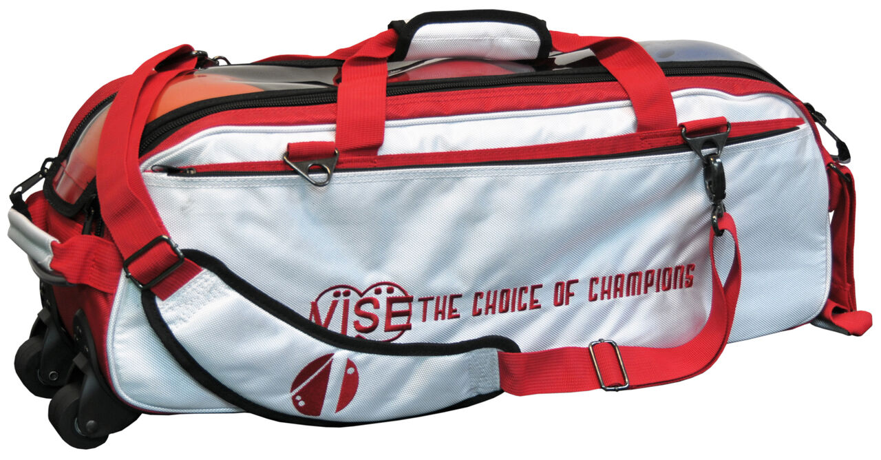 Vise 3 Ball Clear Top Roller Bowling Bag White Red