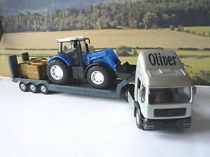 PERSONALISED-NAME-Gift-Boys-Toy-SILVER-TRANSPORTER-LORRY-amp-TRACTOR-Present-Boxed