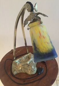 """1910-20 Muller FrÈres Lampe En Bronze DorÉ -encrier- """"pÂte De Verre"""""""