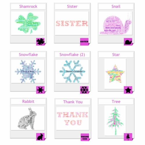 ELEPHANT WORD ART Personalised X-MAS Gift Present Her Sister Little POSTERS
