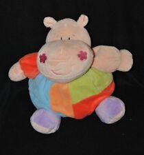 Peluche doudou hippopotame boule MORBIDELLI DE.CAR saumon bleu vert 24 cm NEUF
