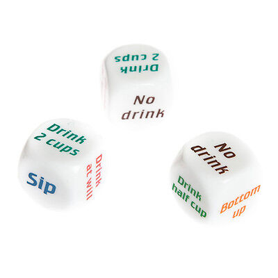 Drink Drinking Sip Dice Roll Decider Die Game Party Bar Club Pub Gift Toy CA