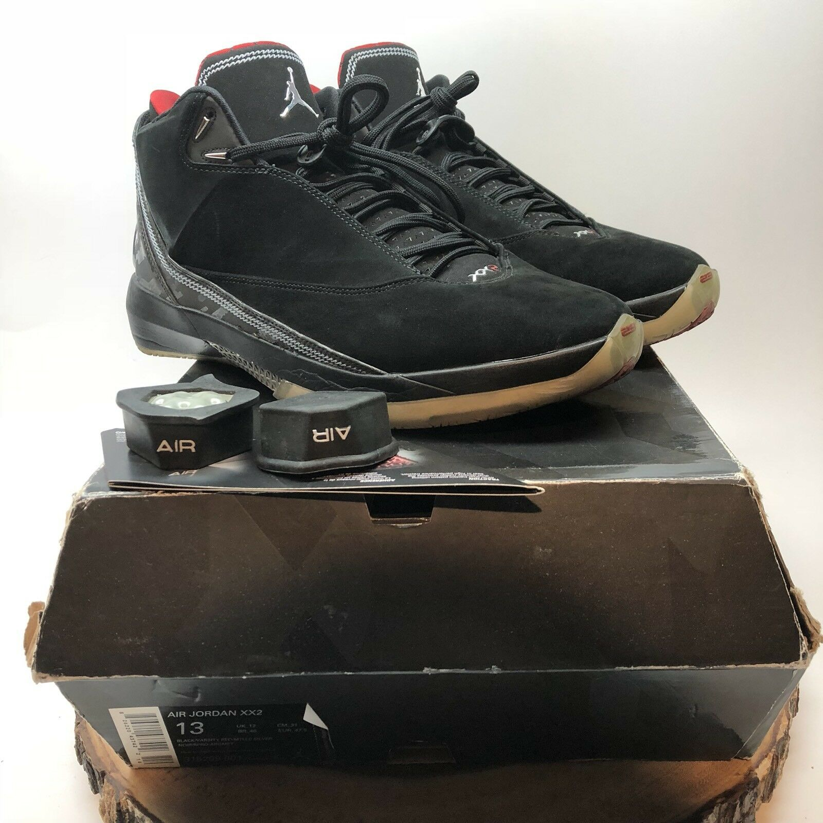NIKE AIR JORDAN XX2 22 BLACK VARSITY RED METALLIC SILVER 315299-001 Price reduction Wild casual shoes