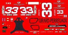 #33 Girard-Perregaux 2003 Ferarri 1/43rd Scale Slot Car Waterslide Decals