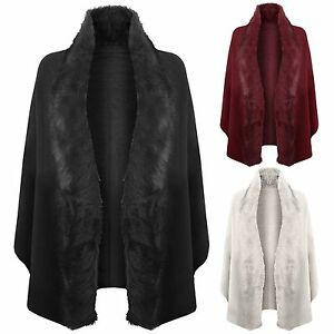 56a1081af300 NEW WOMEN FAUX FUR CAPE PONCHO LADIES COAT WINTER WRAP SHAWL BLANKET ...