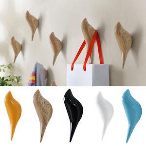 Chic-3D-Bird-Wall-Hanger-Wood-Bathroom-Door-Coat-Hat-Single-Hook-Holder-Decor-UK
