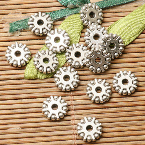 30pcs Dark Silver Color 8.7 mm large de forme ronde Gear Design Spacer Bead EF2830