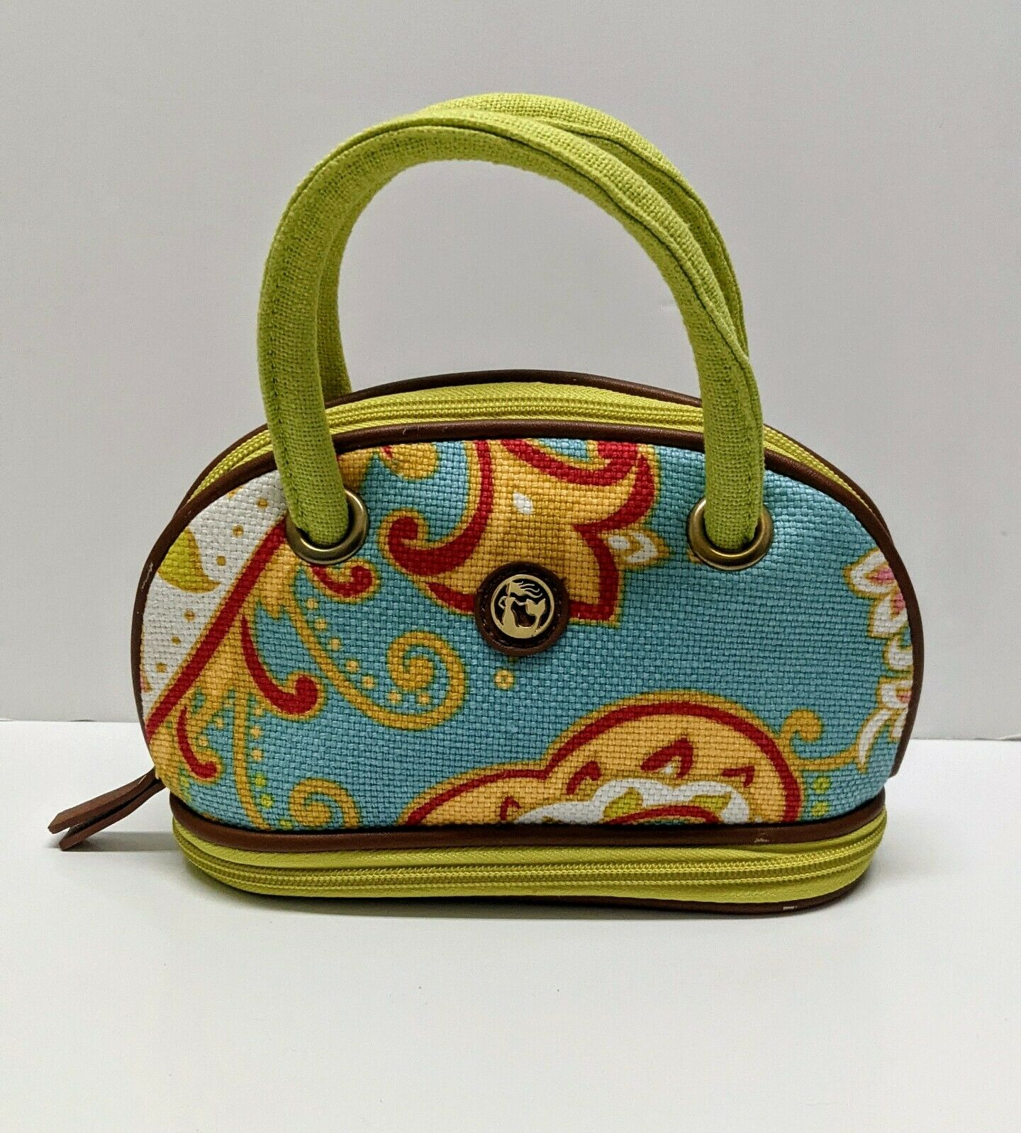 SPARTINA Daufuskie Island Leather Linen Small Purse Make Up Bag Tote Green Blue