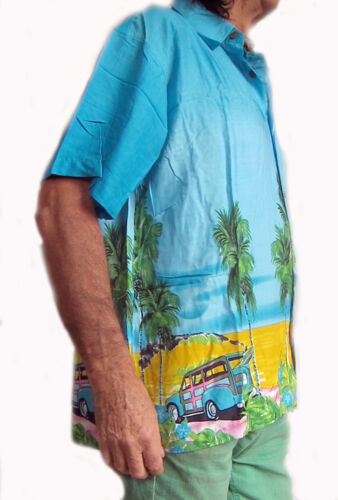 STAG NIGHT SUMMER HOLIDAY PARTY LOUD HAWAIIAN SHIRT with VINTAGE CARS /& PALMS