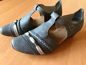 Details zu Rieker Schuhe Antistress Damen Trotteur Pumps blau Gr. 40 Spangenpumps