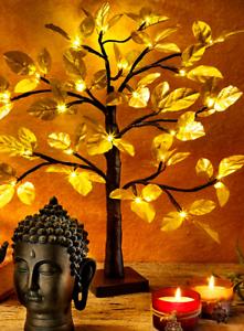 Weihnachtsdeko Gold.Details Zu Led Lichterbäumchen Gold Lichterbaum 60cm Baum Beleuchtet Blätter Weihnachtsdeko