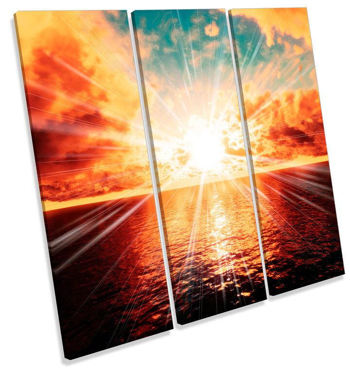 Sunset paisaje océano Escena de océano paisaje agudos LONA pared arte Foto impresión Cuadrado c50567