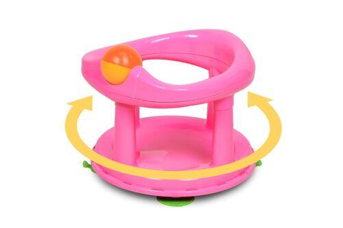 Safety 1st Baby Bath Seat Pink Swivel Rotating Ergonomic Girl Bathing Chair Tub