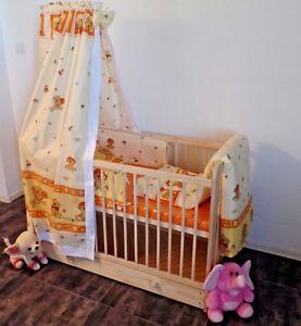 Details zu Babybett Gitterbett Komplett Set Schublade Kinderbett 11Teil  Matratze Himmel TOP
