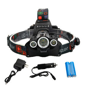HOT 18000 Lumen Headlamp XM-L 3x T6 LED Headlight 18650 Light Charger Battery
