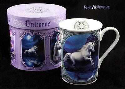 "Anne Stokes Bone China Mug Cup: ""Moonlight Unicorn"" White Unicorn with Water"