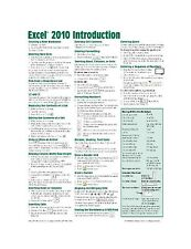 Microsoft Excel 2010 Introduction Quick Reference Guide (Cheat ... Free Shipping