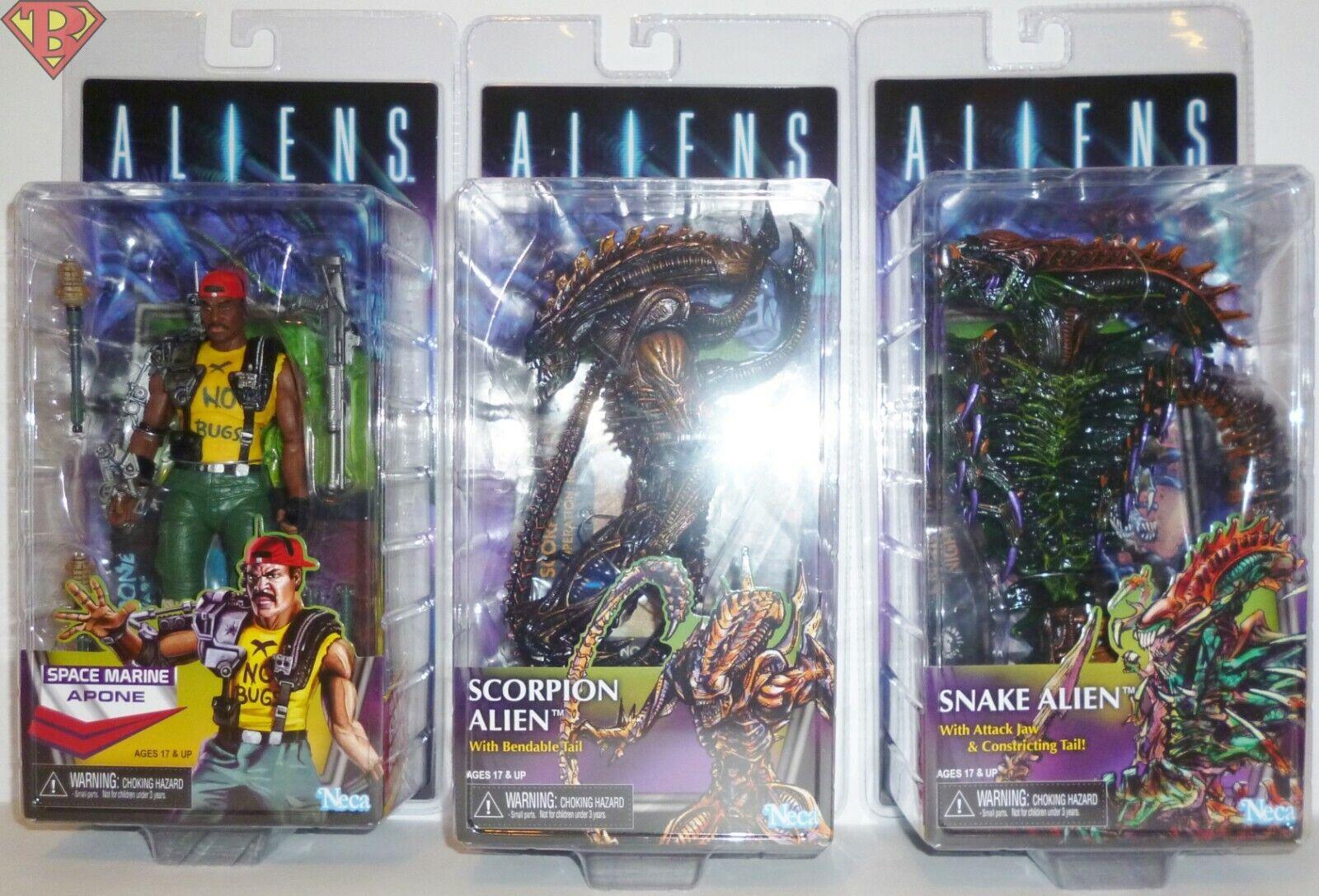 SGT. APONE SCORPION & SNAKE ALIEN Aliens 7 cifra Set of 3 Series 13 Neca 2019