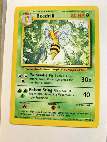 Pokemon Card WOTC Non-Holo --NM RARE 1999 Base Set 17//102 BEEDRILL