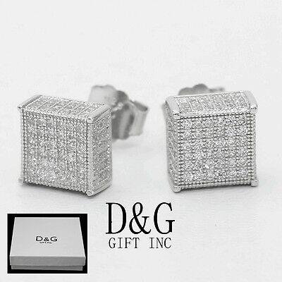 DG Men/'s Sterling Silver 925 CZ 9mm Square Screw.back*Earring Unisex--Box