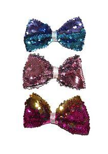 x3-BEAUTIFUL-LARGE-GIRLS-SEQUIN-HAIR-MERMAID-BOW-CLIP-12CM-BIG-BOWS-GREEN-PINK