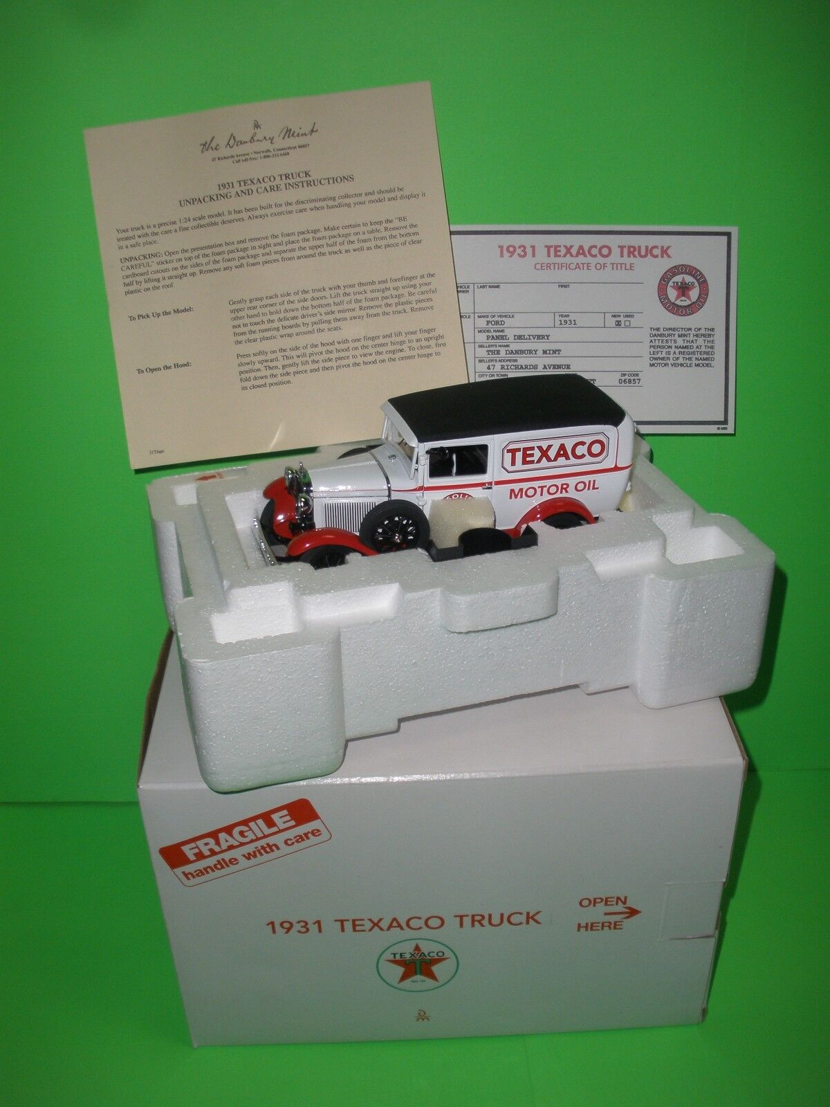 1931 Ford Modelo A Escala 1 24 Camión Panel Danbury Mint Texaco MIB Completo Nuevo